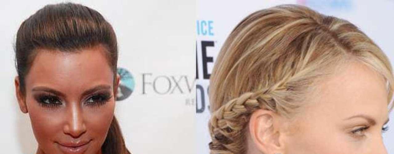 Cinco penteados ideais para o verão fazem a cabeça de famosas como Kim Kardashians e Charlize Theron