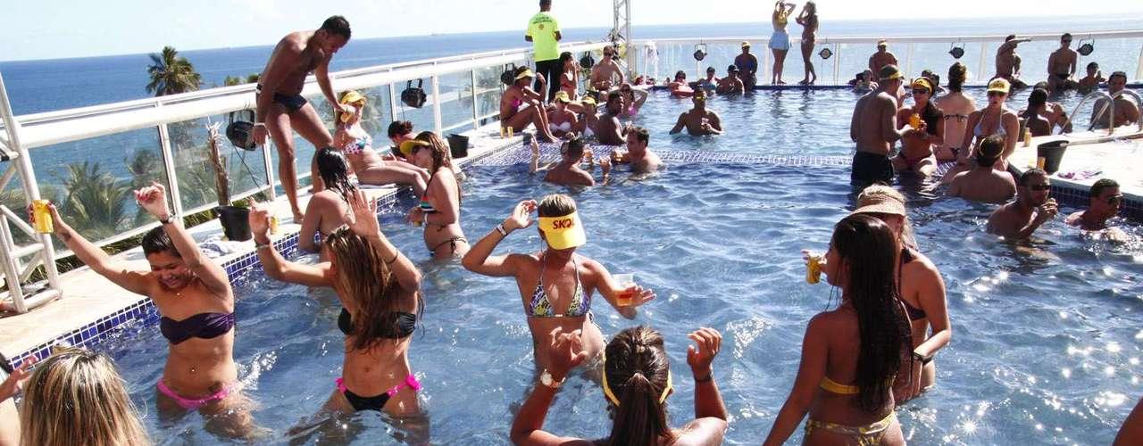 Gatas dançaram muito durante a festa na piscina