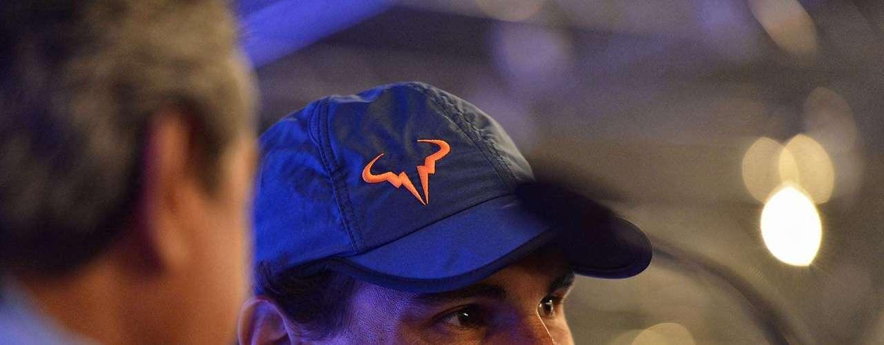 Rafael Nadal participa de entrevista a respeito de sua participação no Brasil Open, em São Paulo