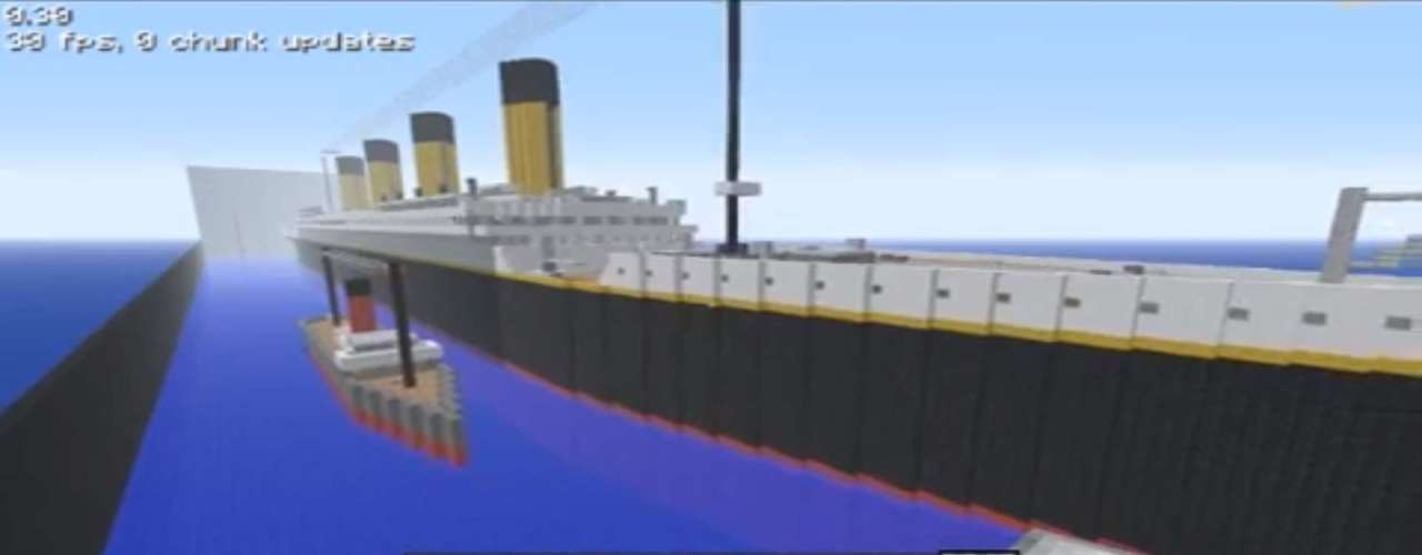 O famosos barco que naufragou na primeira viagem, em 1912, deixando mais de 1,5 mil mortos, foi criado em 'Minecraft' por Chrashking