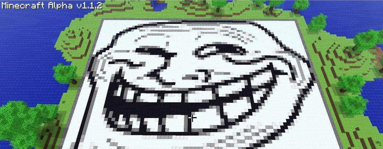 O meme 'Troll Face' também foi recriado em 'Minecraft'