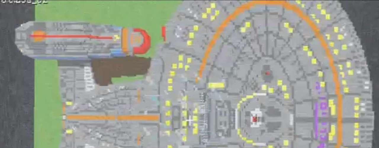 Visão de cima danave espacialUSSEnterprise, em 'Minecraft'