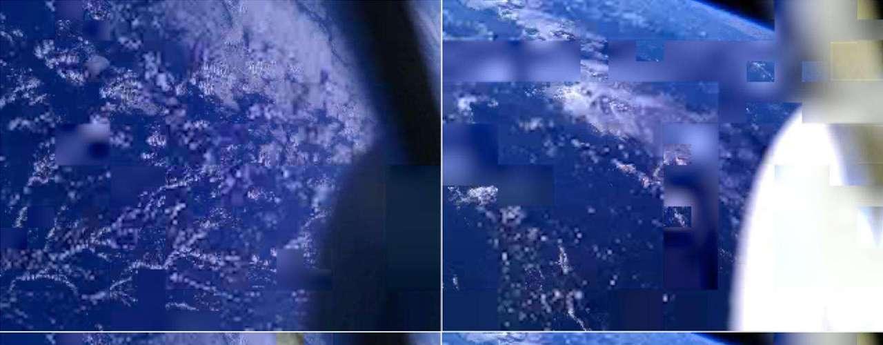 6 de maio - Estas imagens da Terra foram reconstruídas a partir de fotos tiradas por três smartphones que estão em órbita, conhecidos como \