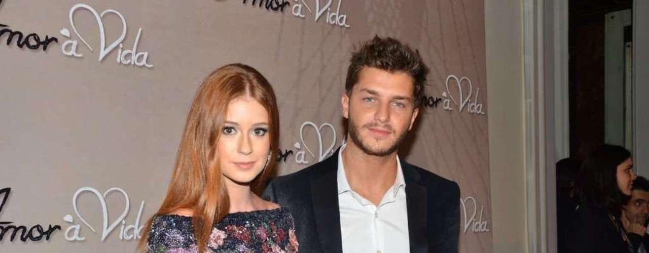 Marina Ruy Barbosa, acompanhada do namorado, o ator Klebber Toledo, foi a um buffet, em São Paulo, para o lançamento oficial da nova trama das 21h, 'Amor à Vida'