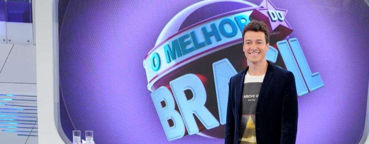 Rodrigo Faro participou de uma coletiva de imprensa, nesta terça (11), para falar sobre a transferência de horário de 'O Melhor do Brasil' para os domingos, no lugar do 'Programa do Gugu'