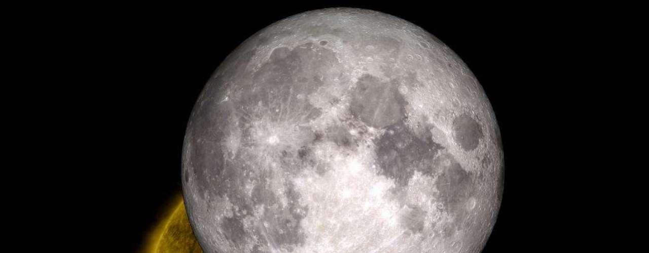 14 de junho - Duas ou três vezes ao ano, um observatório da Nasa registra a Lua passando na frente do Sol, bloqueando a visão do astro. Apesar de ocultar o Sol das observações por um curto período, o fenômeno oferece a chance de astrônomos verem a sombra do satélite da Terra. Nesta concepção artística, feita com base em uma imagem de2010 divulgada nesta sexta-feira,as características detalhadas da topografia lunar ficam visíveis. Afotografia inspirou dois profissionais da Nasa a sobrepor um modelo em três dimensões da Lua em uma representação do Sol, resultando nesseconjunto