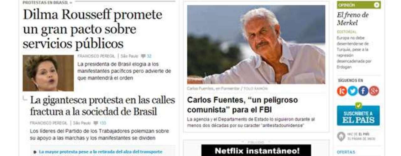 Os sites dos principais veículos de comunicação do mundo, como o espanhol 'El País', repercutiram com destaque em suas capas o discurso nacional da presidente Dilma Rousseff após série de protestos e atos de violência pelo Brasil; confira a repercussão internacional