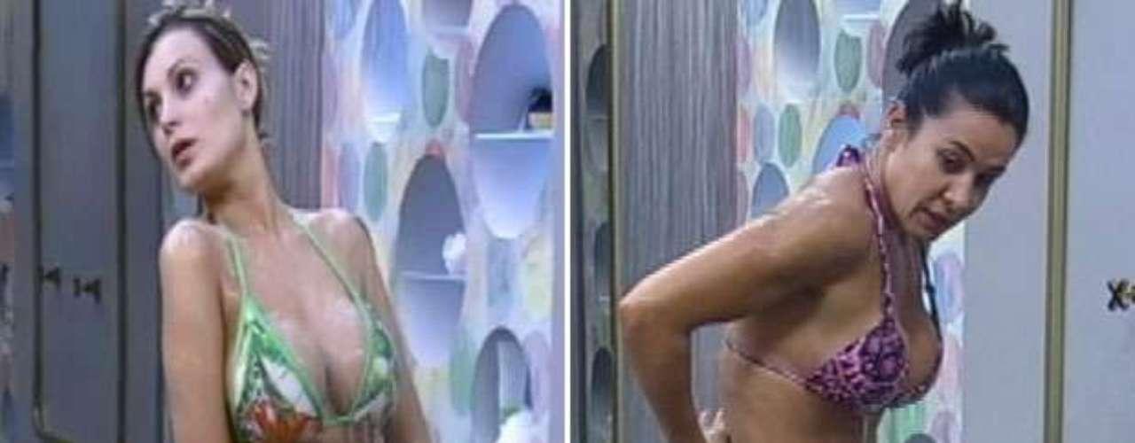 Andressa Urach e Scheila Carvalho mostraram as curvas ao tomarem banho na sede do reality show 'A Fazenda', da Record. Navegue pela galeria e veja fotos!