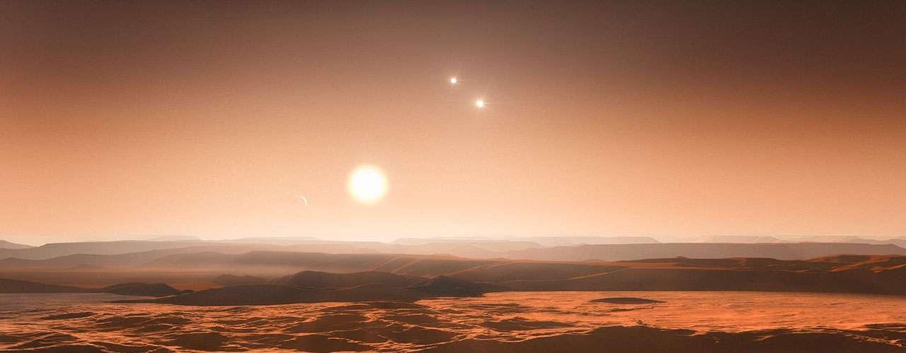 Astrônomos descobriram um sistema com até sete planetas em torno da estrela de baixa massa Gliese 667 C - a uma distância de apenas 1/20 da existente entre a Terra e o Sol. Três desses planetas são \