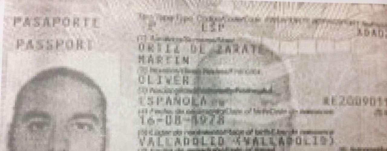 O passaporte do espanhol Oliver Ortiz de Zarate Martin, 35 anos, preso por tráfico de drogas