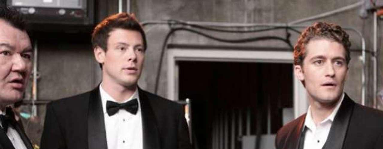 Patrick Gallagher, Cory Monteith eMatthew Morrison em cena de Glee