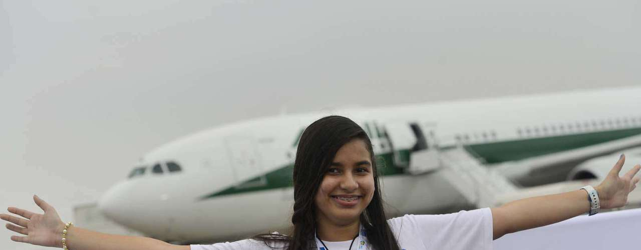 22 de julho -Participante da Jornada Mundial da Juventude durante a chegada do Papa ao Brasil