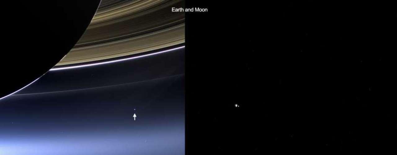 22 de julho -Comparativo da Nasa mostra imagens da Terra e a Lua vistas de Saturni pelas sondas Cassini (a 1,44 bilhão de quilômetros) e Messenger (98 milhões de quilômetros)