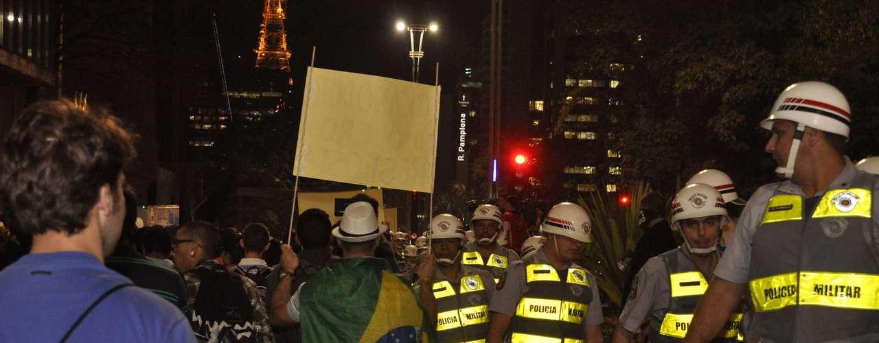 2de agosto -Policiais acompanharam o protesto nesta sexta-feira