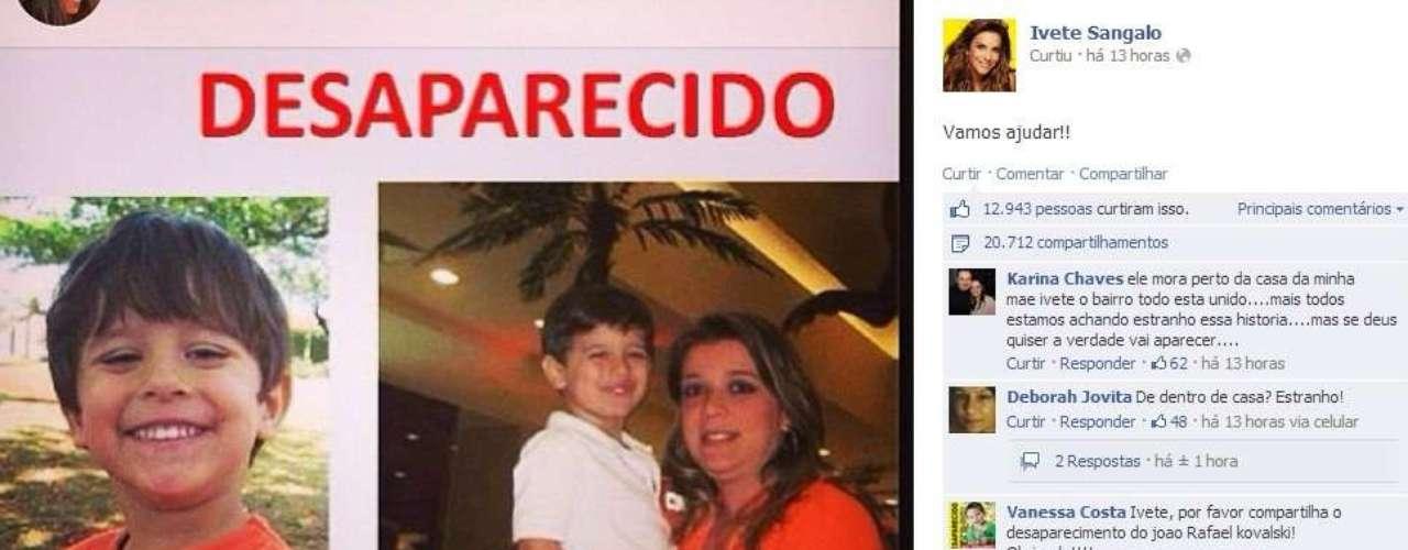 6 de novembro -Famosos usaram as redes sociais para divulgação o desaparecimento do menino Joaquim em Ribeirão Preto