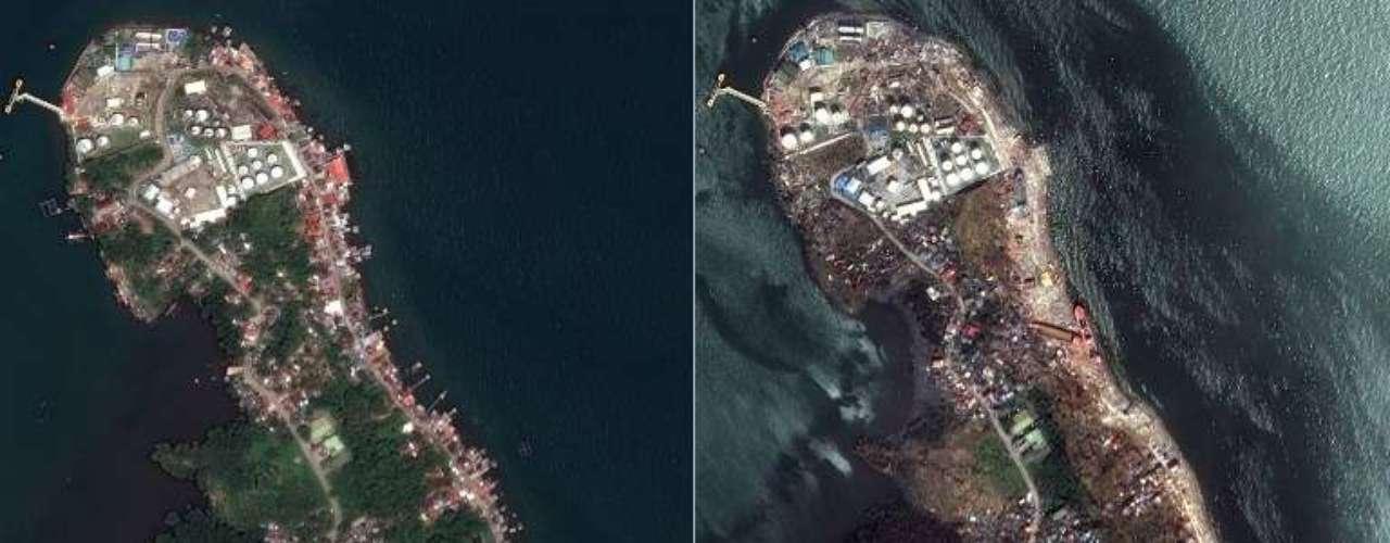 15de novembro -Combinação de fotos de satélite mostra parte da cidade filipina de Tacloban, devastada pelo tufão Hayian, em 7 de março (esq.) e em 13 de novembro (dir.)