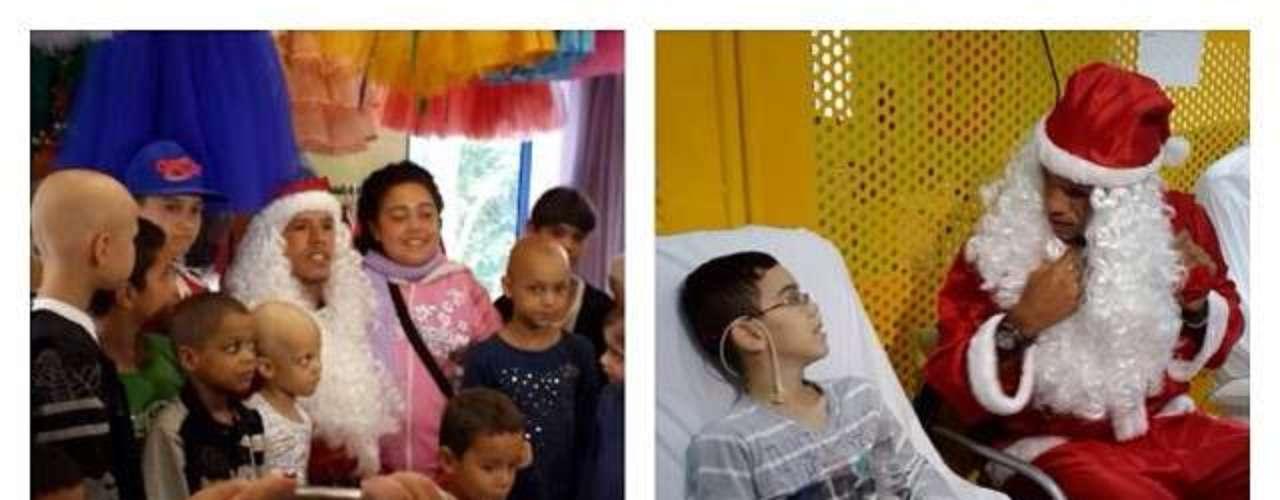 Luís Fabiano visitou Graac vestido de Papai Noel
