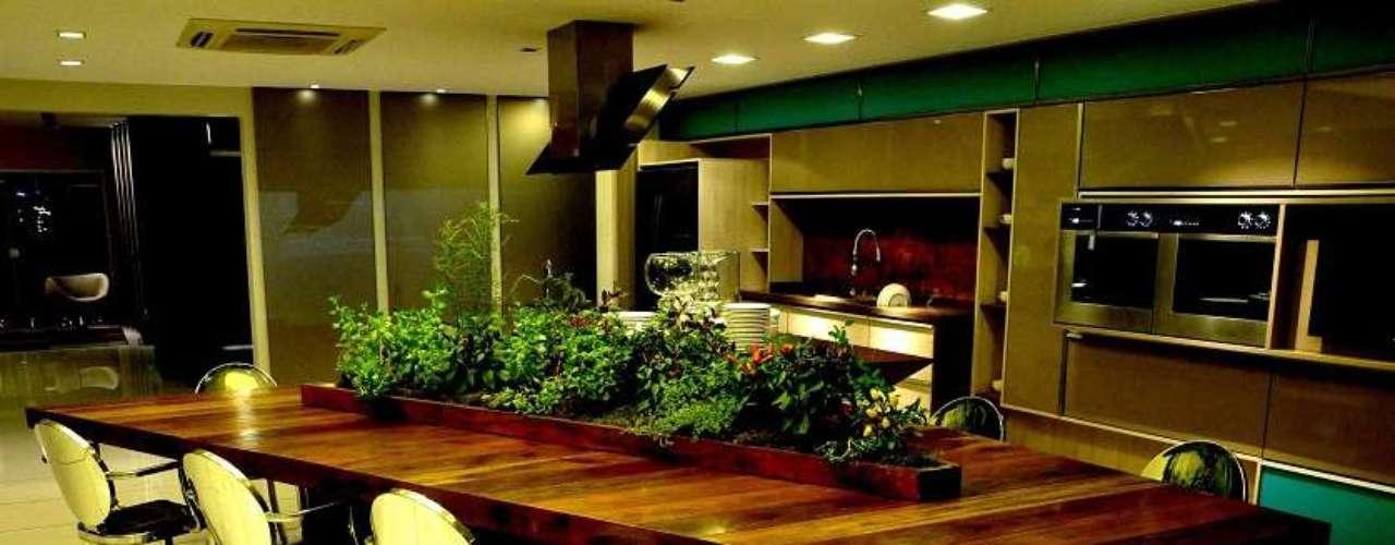 Na cozinha assinada pela Romanzza Design Recreio, a bancada de madeira cumaru (de reflorestamento) conta com uma mini-horta repleta de temperos. Informações: (21) 2437-4302