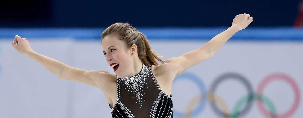 Ashley Wagner, dos Estados Unidos, fez sua apresentação na patinação com um simples e prático rabo de cavalo