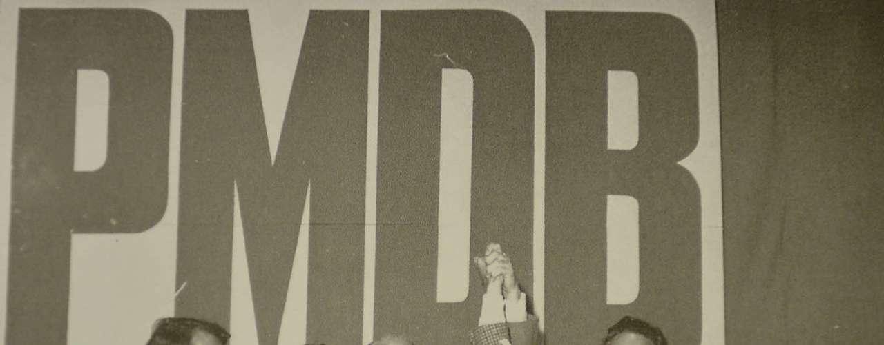 Franco Montoro, Orestes Quéria e FHC, em evento do PMDB. Os dois primeiros foram governador e vice nas primeiras eleições diretas em 1982