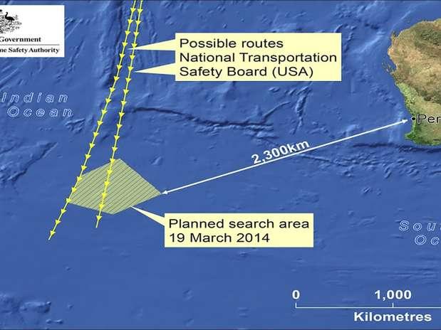 Austrália divulgou infográfico com o local onde os objetos foram encontrados Foto: AP