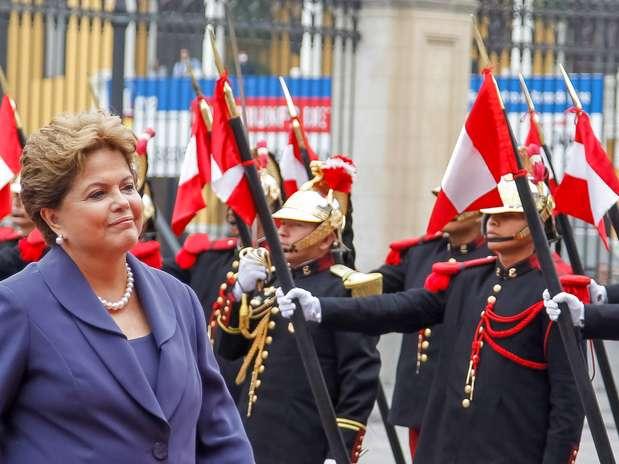Em discurso, a presidentedestacou um conjunto de projetos bilaterais entre o Brasil e o Peru na área social Foto: Roberto Stuckert Filho / PR / Divulgação