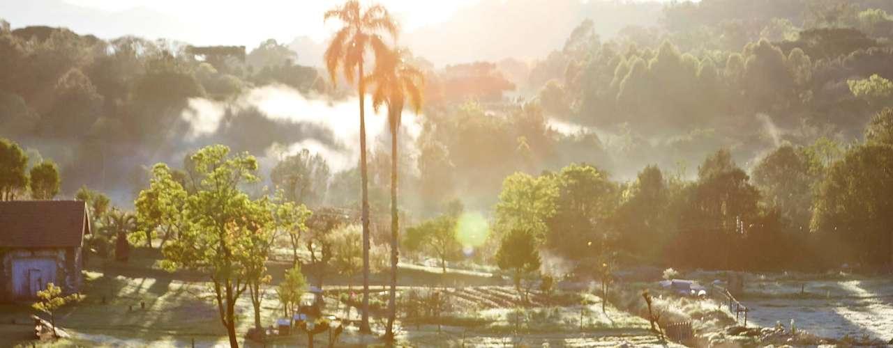 19 de setembro - Em Caxias do Sul, na serra gaúcha, dia amanheceu com temperatura de 8ºC e campos cobertos de geada