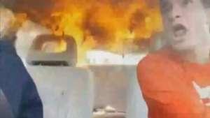 Vídeo de suposto incêndio dentro de carro com passageiros faz sucesso na internet Video: