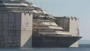 Costa Concordia segue para Gênova para ser desmontado Video: