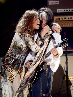 Steven Tyler junto a Joe Perry. Foto: Getty Images