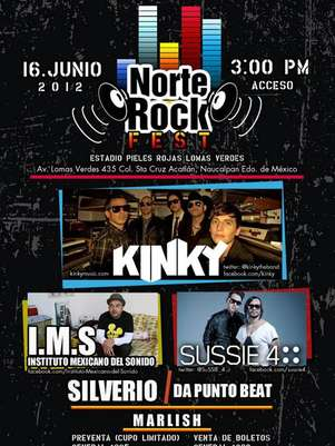 Kinky, Sussie 4, IMS, Dapuntobeat y Silverio forman parte de Norte Rock Fest. Te gustara ir? Foto: Norte Rock Fest