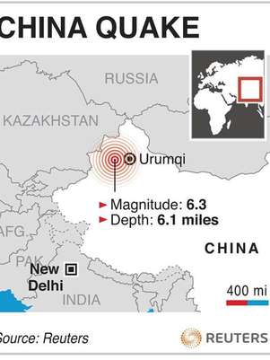 A graphic locates the site of an earthquake in western China. A magnitude 6.3 quake struck a remote region of western China, close to the Kazakhstan border, early on Saturday, the U.S. Geological Survey said. Foto: Graphics / Reuters In English