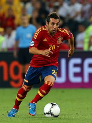 Santi Cazorla of Spain runs with the ball during the UEFA EURO 2012 quarter final match between Spain and France at Donbass Arena on June 23, 2012 in Donetsk, Ukraine.