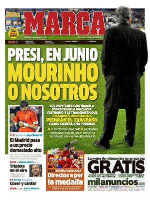 La portada de Marca en donde habla la reunin de los capitanes del Madrid con el presidente Prez. Foto: Divulgacin