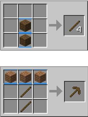 Diagrama mostra como construir a primeira picareta em 'Minecraft' Foto: Reprodução