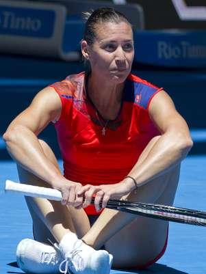 Samantha Stosur lamenta derrota em parceria com Bernard Tomic Foto: AFP