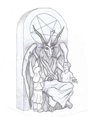 Imagem mostra o desenho da estátua que o templo satânico pretende instalar Foto: AP