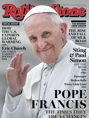 Capa da revista mostra imagem do Papa e referência a música de Bob Dylan Foto: Reprodução