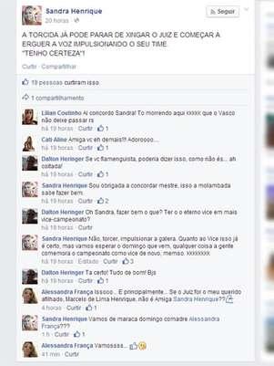 Mulher de árbitro carioca criticou Vasco no Facebook Foto: Facebook / Reprodução