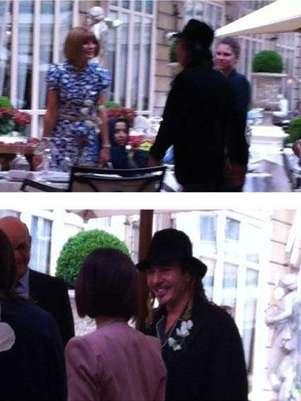 Galliano e Wintour em suposto jantar em Paris Foto: Twitter