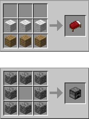 Como construir uma cama (acima) e a fornalha (abaixo) para sobreviver a primeira noite de 'Minecraft' Foto: Reprodução