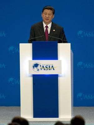 O presidente da China, Xi Jinping, inaugurou neste domingo o Fórum de Boao Foto: AP