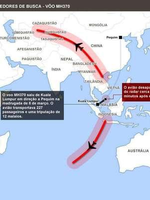 Mapa mostra rota de buscas pelo avião desaparecido há 10 dias Foto: Arte Terra