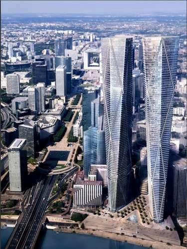 Hermitage Plaza, Paris: o bairro de La Défense, situado a noroeste de Paris, é o mais moderno da capital francesa, com diferentes prédios e arranha-céus empresariais. Em 2017, La Défense terá torres que entrarão entre as mais altas da Europa no complexo Hermitage Plaza, com dois prédios de 320 metros, com um parque, lojas e restaurantes em seu térreo