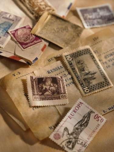 Uma coleção de selos postais