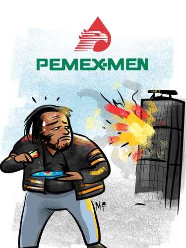 Com a tag #OportunismoIlustrado, o usuário @MareoFlores publicó sua versão dos quadrinhos 'PEMEX-MEN', usando o nome da empresa que virou notícia