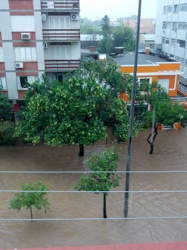 A avenida Cristóvão Colombo, no bairro Floresta, foi tomada pela água