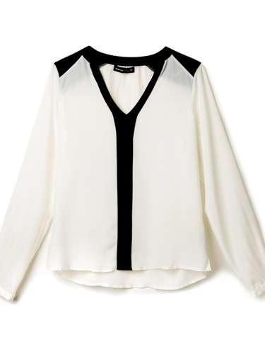 Camisa branca com detalhes em preto, da Marisa. Preço: R$ 69,99. Informações: 4004-2211 (capitais) e 0800-7281122 (outras localidades)