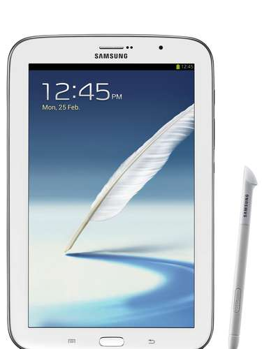 A Samsung mostrou o tablet Galaxy Note 8, que roda Android Jelly Bean, tem processador de 1,9 GHz, conectividade 3G/HSPA+ capaz de fazer ligações, tela de 8 polegadas e 2 GB de RAM