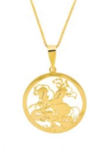 Colar com medalhão de São Jorge Pri Schiavinato R$ 133,50, Tel. 34 3210-7476